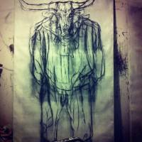 Cow. 2014. Houtskool op paneel. 270 x 160 cm