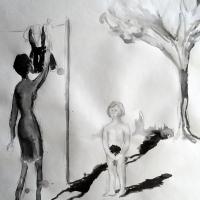 Het jurkje, voorstudie | 2011 | Oostindische inkt op papier