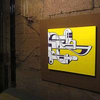 GeelPaars, Installation view Urban Art Biennale, Museum Weltkulturerbe Voelklinger Huette 2013 | 2011 | Acrylverf op doek