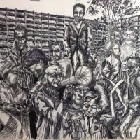 Anton de Kom. 2013. Mixed media op geschept papier. 90 x 110 cm